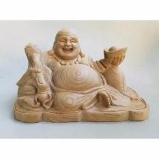 Tượng đức Phật Di Lặc Gỗ Bách Sanh thơm Nhật Bản để xe ôtô,bàn làm việc(C9xR11,5xD8)