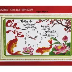 Tranh thêu chữ thập Đồng hồ Cha mẹ DLH-222885-Kíchthước: 69x42Cm