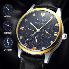Đồng hồ nam dây da cao cấp Yazole N04 chạy 6 kim(Có bảo hành)