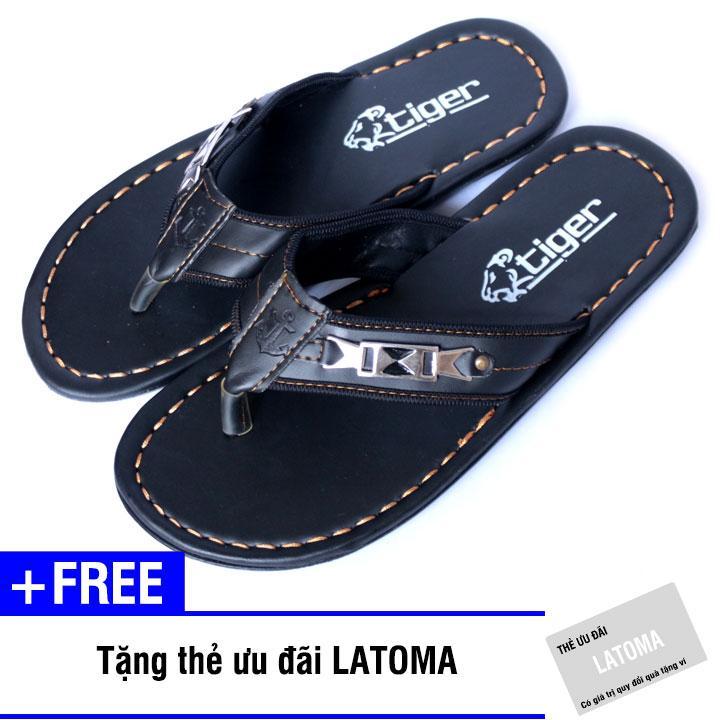 Dép xỏ ngón nam cao su thời trang Latoma TA1241(Nâu sậm)+ Tặng kèm thẻ ưu đãi Latoma