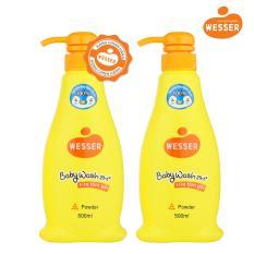 Bộ 2 chai sữa tắm gội Wesser 2in1 hương phấn 500ml (Màu cam)