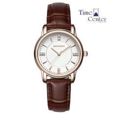 Đồng hồ nữ dây da cao cấp SANDA JAPAN SA286 đính đá sang trọng – Dây nâu + Tặng kèm pin dự phòng