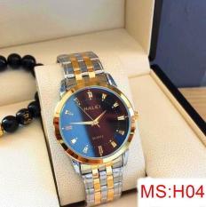 đồng hồ nam halei dây pha vàng ,mặt đen,chống nước chống xước tuyệt đối