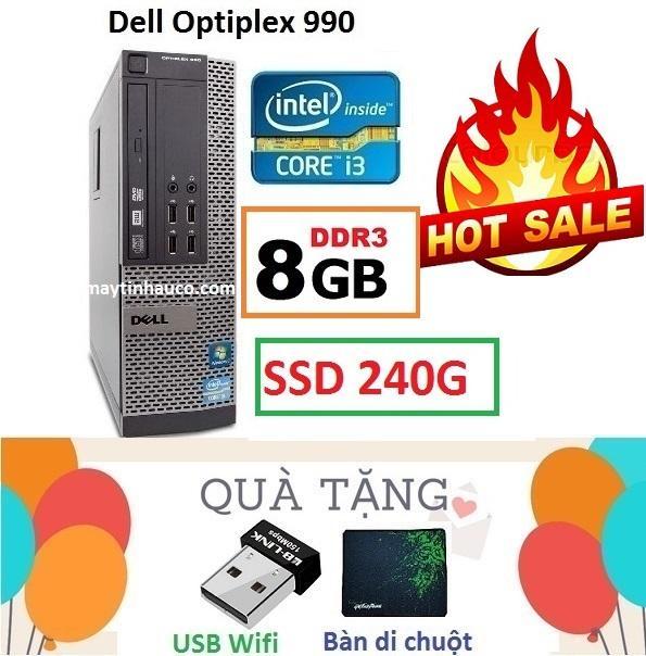 Thùng Đồng Bộ Dell Optiplex 990 (Core i3 2100 / 8G / SSD 240G ), Tặng USB Wifi , Bàn...