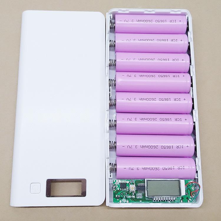 Bảng Giá Box sạc dự phòng 8 khe pin dùng pin 18650 (Trắng, chưa pin) Tại ShopDV