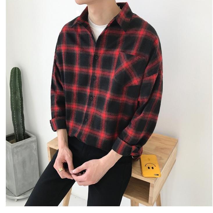 Áo Khoác Unisex ( CÓ HINH THAT) Kiểu Dáng Sơ Mi Caro không nón 3 màu (đen,xanh,đỏ)