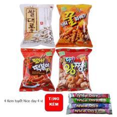 Bộ 4 Snack Hàn Quốc 4 vị + 4 Kem tuyết