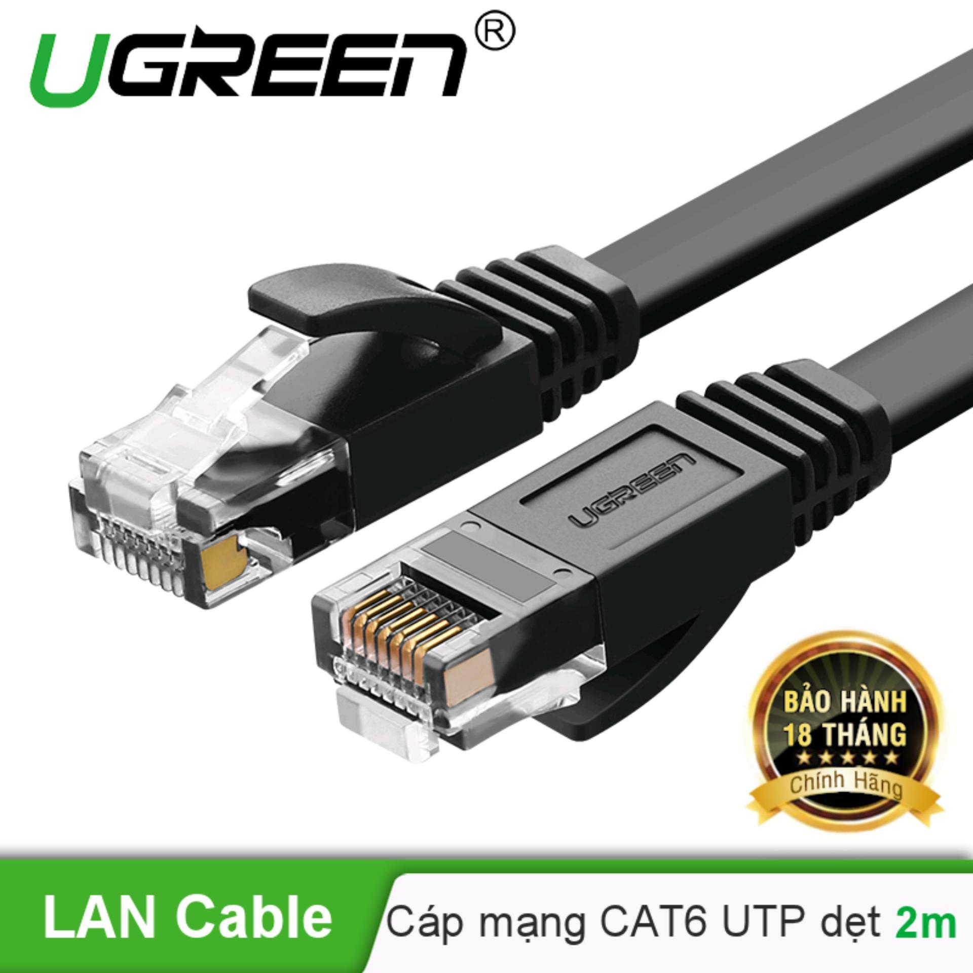 Cáp mạng Cat6 aluminum dạng dẹt dài 2m UGREEN NW102 50174 - Hãng phân phối chính thức