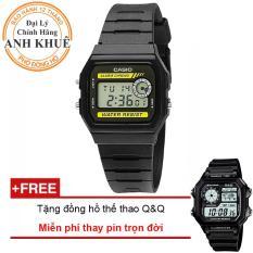 Đồng hồ dây nhựa huyền thoại Casio Anh Khuê F-94WA-9DG + Tặng đồng hồ thể thao Q&Q