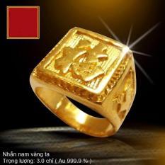 Nhẫn nam mạ vàng 24k ITALY chữ Phúc (Đại cát) – Đủ size