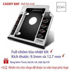 Khay gắn ổ Cứng SSD/HDD thứ 2 cho laptop – Full nhôm – dày 12.7mm và mỏng 9.5 mm,SATA, Tặng tuvit & mặt ốp cd