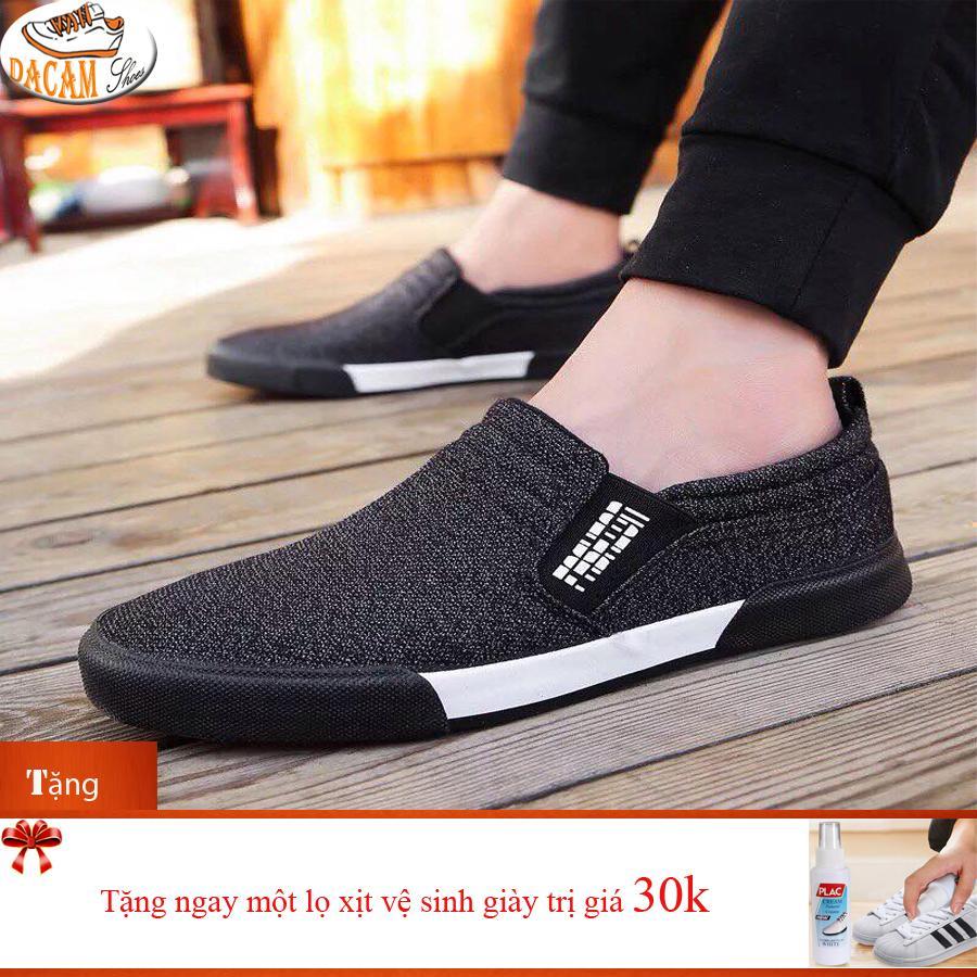 Giày Lười nam -DaCam Shop-LichLam(đen)+Tặng lọ xịt vệ sinh giày