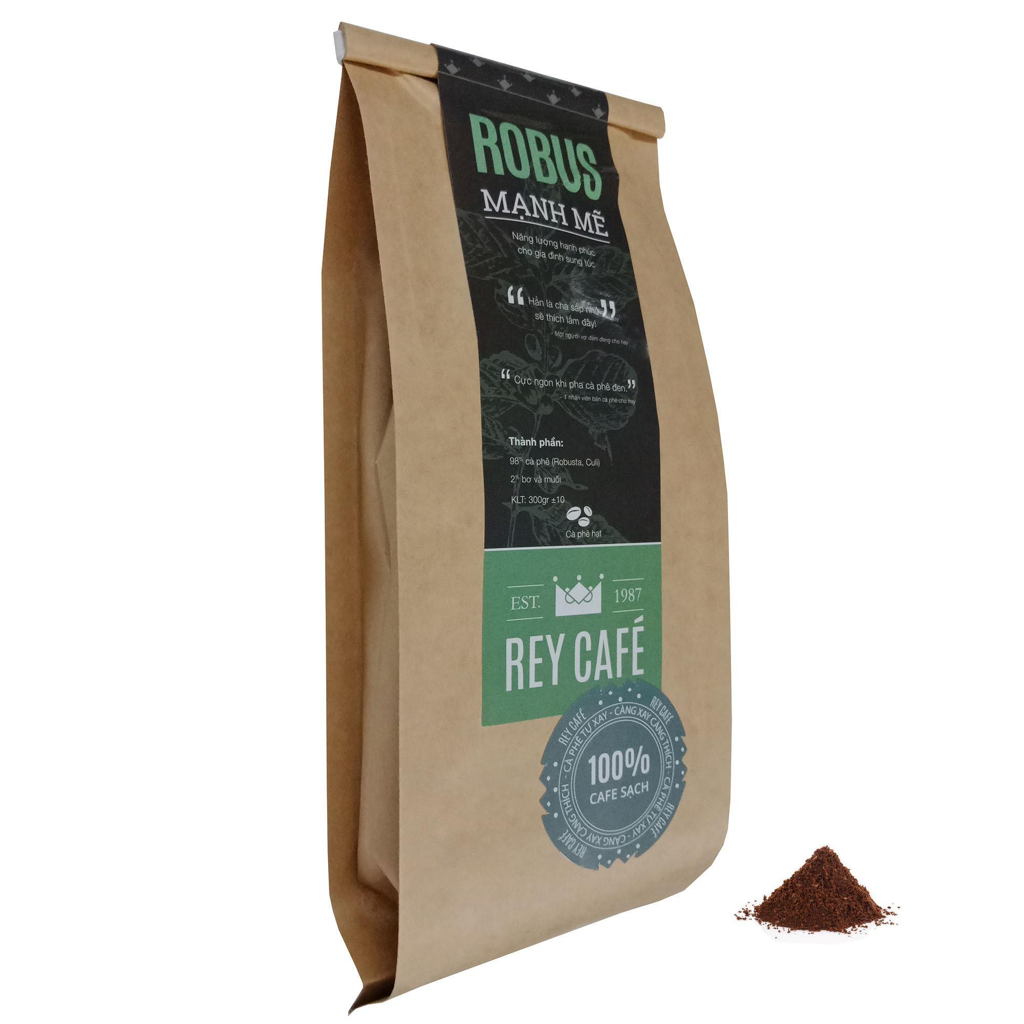 Rey Café – Robus Mạnh Mẽ – Dạng bột – Gói 300gr – Cà phê nguyên chất có bơ