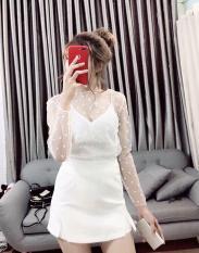Áo 2 dây kiểu nữ tay dài phối ren