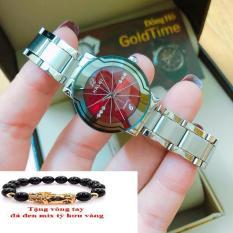 Đồng hồ nữ Halei dây thépTẶNG 1 vòng tỳ hưu phong thủy may mắn đồng hồ dây trắng mặt đỏ