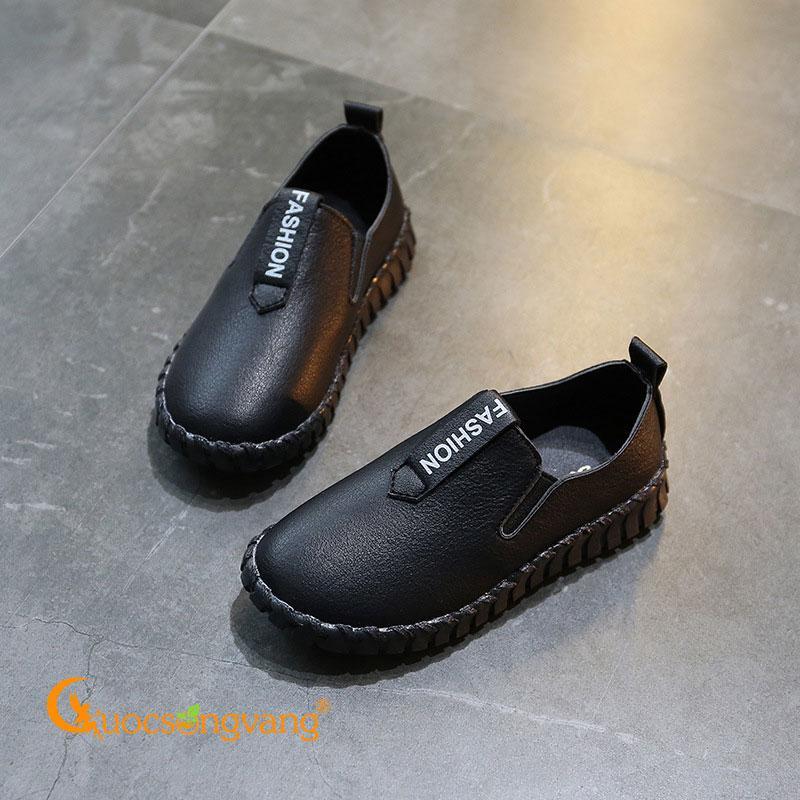 Giày bé trai đẹp giả da màu đen giày lười bé trai GLG108