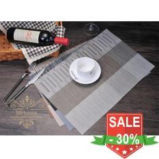 Bộ 4 tấm khăn lót bàn ăn 3 sọc (Màu Kem)