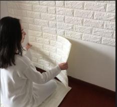 10 tấm Xốp dán tường 3D giả gạch Chịu lực không thấm nước 70x77cm loại đẹp