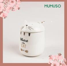 Cốc sứ MUMUSO có nắp đậy in hình mèo dễ thương (400ml)