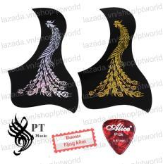 Bộ Miếng dán đàn Guitar cao cấp chống trầy xước bảo vệ đàn hình 3D laser Phượng Hoàng + Pick Alice