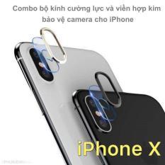 Combo bộ kính cường lực dán camera và viền hợp kim bảo vệ camera cho iPhone X