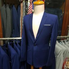 Bộ vest nam màu xanh dương ôm body kiểu đơn giản 1 khuy