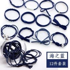 Set 12 dây buộc tóc mềm Hàn Quốc nhiều kiểu kèm hộp – Loại 1