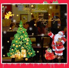Decal trang trí giáng sinh noel-Ông già Noel, túi quà và cây thông Noel SK9243 decalforchristmas