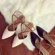 Giày cao gót bít mũi chéo hở gót