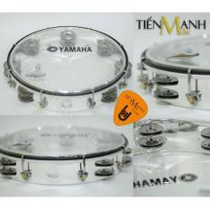 Trống lắc tay – Lục lạc gõ bo Tambourine Yamaha MT6-102T (Trong suốt – Trống chơi nhạc chế gõ po – Xipo – Tặng móng gẩy Tiến Mạnh Music)