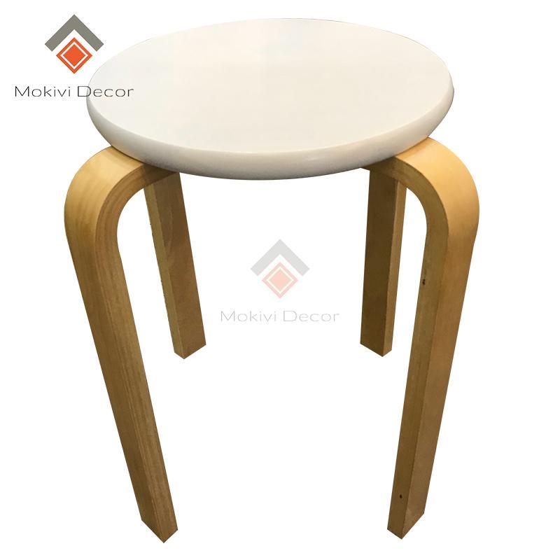 Ghế gỗ tròn chân dẹp (TRẮNG) – ghế phòng ăn, ghế cafe gỗ PHONG CÁCH