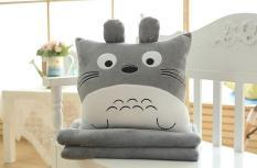 Bộ chăn gối 3 trong 1 Totoro vuông lớn (xám)