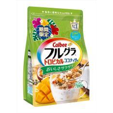Ngũ cốc Calbee màu xanh: chanh dây, dừa, đu đủ, hạt bí đỏ, xoài Date T3.2019