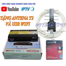 Đầu thu truyền hình số mặt đất DVB T2 Hùng Việt TS 123 youtube tặng anten wifi, tặng anten và dây 15m xem Tivi