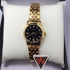 Đồng hồ nữ Halei H502VD dây vàng mặt đen chống nước