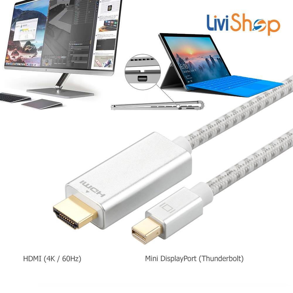 Cáp chuyển Mini Displayport/ Thunderbolt sang HDMI Male (đực) độ nét cao LV137 dài 2 mét (Full HD 1080p, 2K/ 4K, cáp vải dù Siêu bền)
