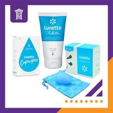 Combo Cốc Nguyệt San Lunette kèm Nước rửa tiệt trùng cốc 150ml và Giấy lau tiệt trùng cốc (Màu Xanh dương Size 1) – Hàng NK chính hãng, phân phối độc quyền bởi Cty Hoàng Gia – Combo Lunette Menstrual Cup (Light to normal flow) & Cleansing Cup