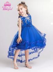 Đầm bé gái xanh bích đuôi nhún bèo