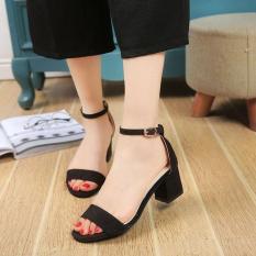 Dép Sandal cao gót 5 phân da lộn quai ngang đế vuông | dép nữ | dép sandal nữ | dép nữ dễ thương-GCG02