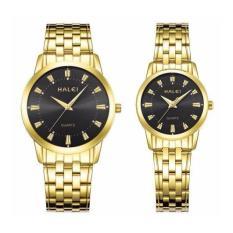 Đồng hồ cặp halei 502 dây vàng mặt đen