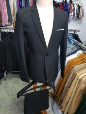 Bộ vest nam màu đen ôm body kiểu đơn giản