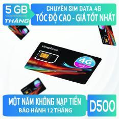 Sim 4G Vinaphone D500 5GB/tháng, trọn gói 12 tháng không nạp tiền, bảo hành 1 năm