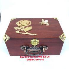 Hộp trang sức gỗ hương có quai xách, bọc đồng, lót nhung
