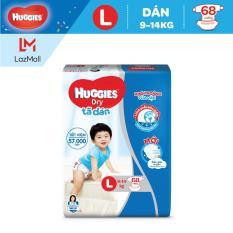 Tã dán Huggies Dry Super Jumbo L68 (Đệm mây co giãn) – Gói 68 miếng (Cho bé 8kg-13kg)