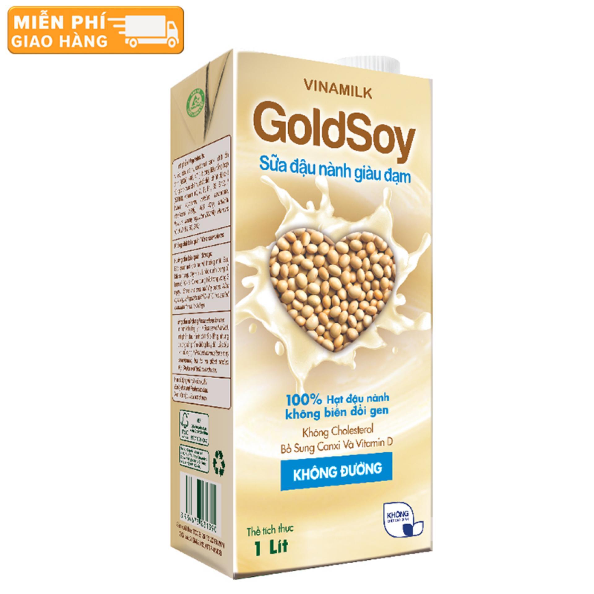 Thùng 12 Hộp Sữa đậu nành GoldSoy Giàu Đạm không đường 1L (Hộp giấy)