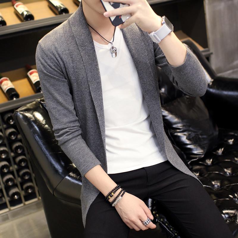 Áo cardigan nam dáng dài màu xám CG02