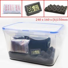 Combo hộp chống ẩm và ẩm kế, 100gram hạt hút ẩm xanh cho máy ảnh, máy quay phim – dung tích 5 lít (tặng mút xốp lót hộp) – PHUKIEN2T_Q01110