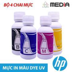 Bộ 4 Chai Mực In Phun Màu Media Cho Máy In HP (100ml x 4) – DYE UV