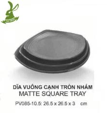 Bộ 3 Dĩa vuông lớn cạnh tròn đen nhám kiểu Hàn Quốc 26.5cm SRITHAI PV085-10.5 DN