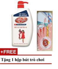 Sữa tắm kháng khuẩn Lifebuoy Bảo vệ vượt trội 10 Đỏ chai 850g TẶNG hộp bút trò chơi